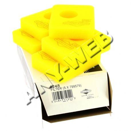004248 - (5 X 799579) Filtre à air jaune Briggs and Stratton